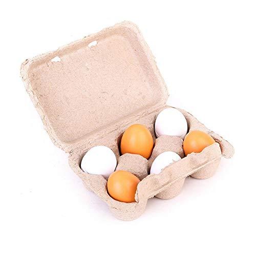 Eier Spielzeug Karton Holz Spielen Ostereier Eigelb Pretend Kinder Spielset Montage Kinder Vorschule Pädagogisches Spielzeug Küche Lebensmittel Kinder Spielzeug 6 Pcs