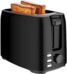 Bonsenkitchen 2-Slice Extra-Wide Slot Toaster with Defrost/Bagel/Cancel Function, 7 Shade Setting, Black Stainless Steel Bagel Toaster