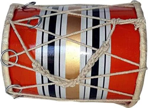 GT manufacturers Wooden Musical Instrument Baby Dholak Drum Rope Ring Design 2 Orange Colour