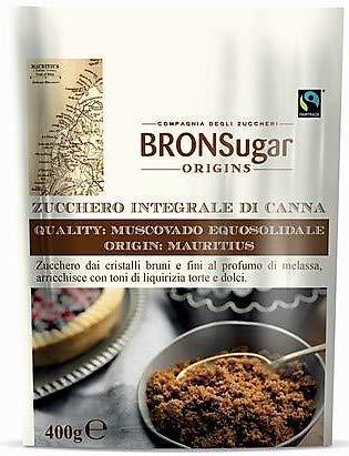 Compagnia degli Zuccheri Bronsugar Zucchero Integrale di Canna Qualità Muscovado Equosolidale Origine Mauritius Cristalli Bruni e Fini con Toni di Liquirizia - 1 x 400 Grammi