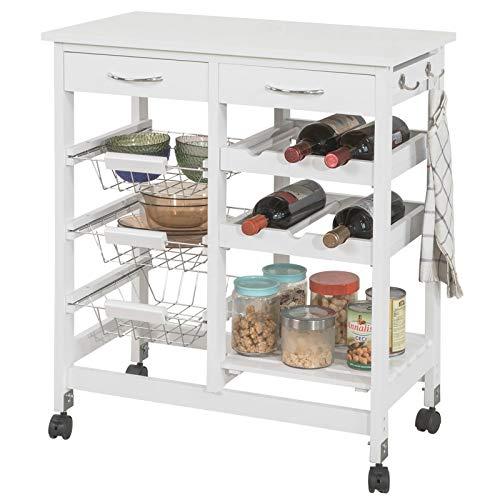 SoBuy Carrello di servizio, Carrello cucina,Scaffale da cucina,in legno, bianco, FKW78-W