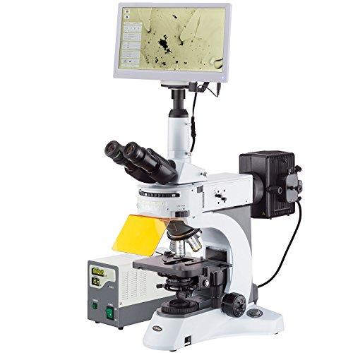 AmScope 40X-1000X rechtopstaande fluorescentie microscoop met draaiende multi-filter torentje + HDMI camera + scherm