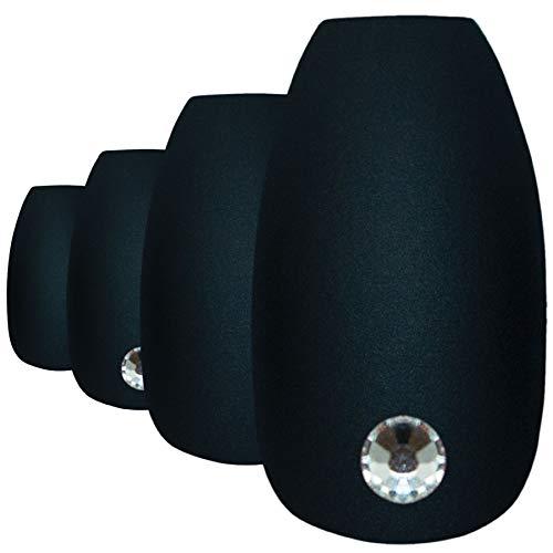 Faux Ongles Bling Art Noir Mat Ballerine Cercueil 24 Longue Faux bouts d'ongles acrylique avec colle