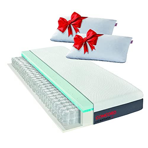 Matratzen Concord DIE MATRATZE Taschenfederkernmatratze mit Duo Topper und gratis Kissen 140x200, Atmungsaktiv, Öko Tex