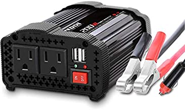 NDDI 200W Car Power Inverter 12V DC to 110V AC Converter with 3.1A Dual USB Quick Car Charger Adapter(Black)
