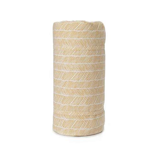 """URBANARA Picknickdecke """"Mallur"""" – 100% Reine Baumwoll, beschichtete Unterseite aus 100% Nylon mit Netzmuster und Tragetasche (130cm x 190cm, Senfgelb/Eierschale)"""