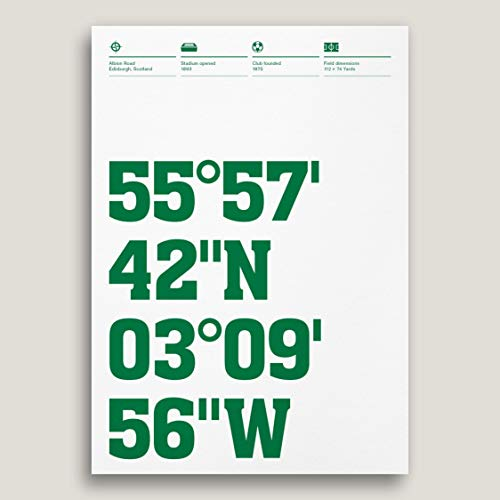 Hibernian Stadium Coordinates Typography Print, Football Ground Posters, Personalise Your Print, 3 Sizes, Art and Design By Dinkit