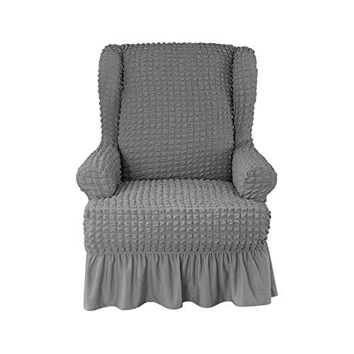XDKS Ohrensessel Schonbezug,ohrensessel Bezug Stretch Jacquard Elastische Sofaüberwurf Schutzhülle Aus Elastischem Sessel Husse Für Ohrensessel (Grau)