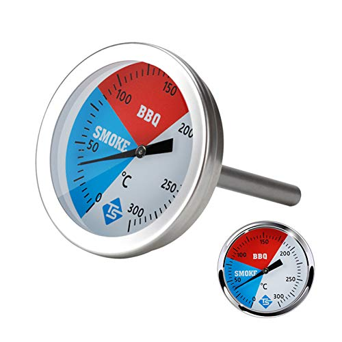 Festnight Medidor de temperatura de 0 a 300 grados Celsius, termómetro de cocina de acero inoxidable para barbacoa, parrilla, horno ahumador