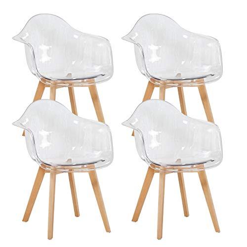 EGGREE Set di 4 Sedie Cucina Trasparenti in Policarbonato Poltrona Design Moderne Sedie Sala da Pranzo, Gambe in Faggio