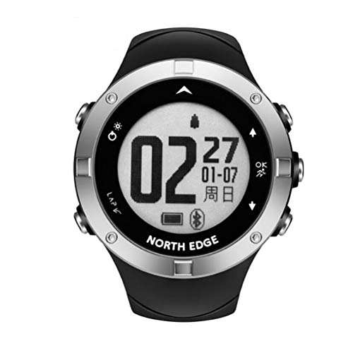 KUANDARMX Moda Inteligente Reloj De Ritmo Cardíaco para Deportes Al Aire Libre 5atm Contador De Pasos A Prueba De Agua GPS Corrige La Hora Automáticamente Multifunción Reloj Regalo, Black