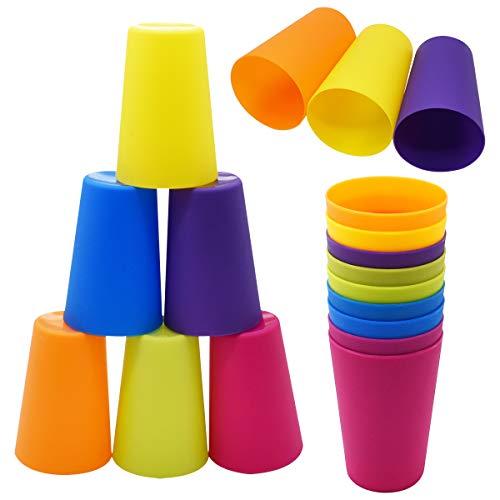 Saijer - Set di 18 bicchieri in plastica riutilizzabili, impilabili, per feste, matrimoni, campeggio, spiagge e picnic (6 colori)