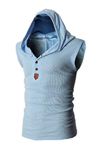 (ボナスティモーロ) Buona stimolo メンズ タンクトップ フード付き 袖なし カジュアル パーカー ベスト 8カラー (M, ライトブルー)