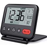 NOKLEAD Digital Travel Alarm Clock – Mini Portable LCD Display Clock with Backlight Calendar Temperature Snooze 12/24H Makeup Mirror, Small Folding Battery Operated Desk Clock for Kid Bedroom (Black)