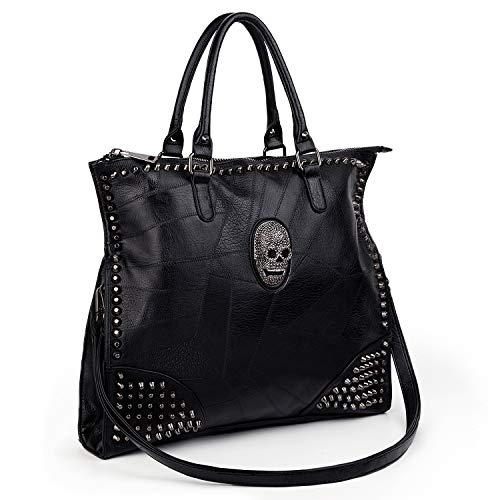 UTO-Tote-Bag-for-Women Handbags PU Leather Skull Rivet Studded 3 Ways Convertible Crossbody Shoulder Bag Purse