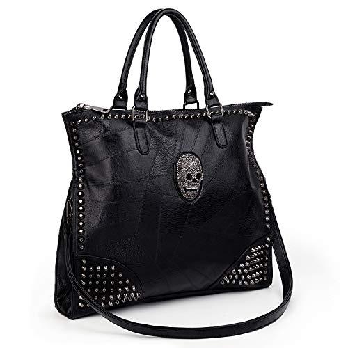 UTO-Tote-Bag-for-Women Handbags PU Leather Skull Rivet Studded 3 Ways Convertible Crossbody Shoulder Bag Purse