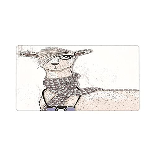 Alfombrilla de ratón para Juegos 30X80CM,Hipster Lama con Peinado y cámara Artista Animal Humorístico gráfico,Base de Goma Antideslizante,Adecuada para Jugadores,PC y portátiles