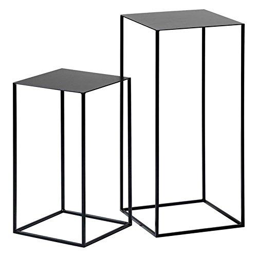Piantana Stand In Ferro Battuto Tavolino Flower Shelf Lato Nordico Moderno E Moderno Espositore Minimalista (bianco/Nero/Oro 30 * 30 * 54cm, 34 * 34 * 74cm) CongMing (Colore : Black - a pair)