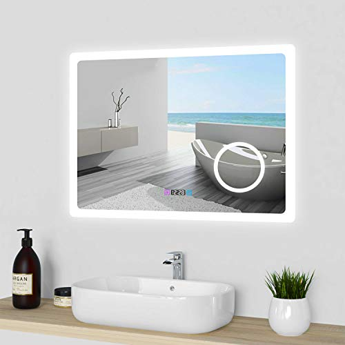 Acezanble Miroir de Salle de Bain 80cmx60cm avec LED 3 Couleurs et luminosité réglables + Anti-buée + Miroir grossissant + Horloge numérique IP44