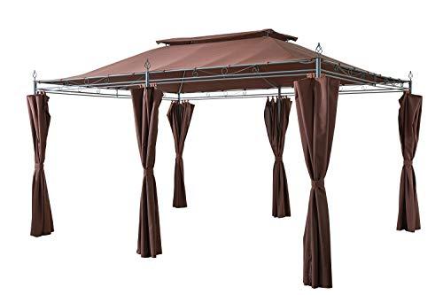GRASEKAMP Qualität seit 1972 Garten-Pavillon Inca 3x4m Mocca mit Seitenteil Sets geschlossen Party-Zelt Terrassen-Dach