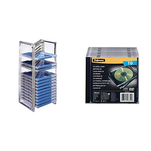 Hama CD Regal Rack für 20 Discs / CD Hüllen ( CD Aufbewahrung für Office oder Kinder, hochwertiger CD Ständer) Silber & Fellowes Jewel Case Leerhülle für 1 CD 10er Packung schwarz