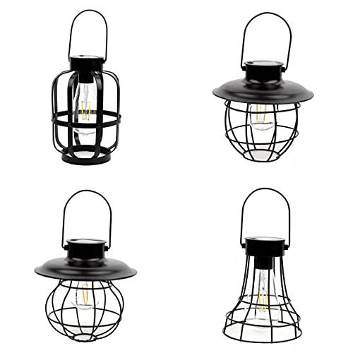Fenteer Luces Al Aire Libre Al Aire Libre de La Lámpara Solar de La Linterna de La Vendimia 4pcs para El Paisaje Del Patio