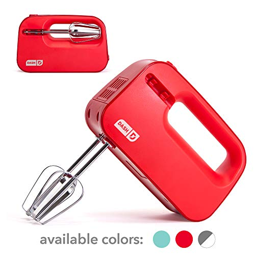 Dash Smart Store Compact Hand Mixer Electric for Whipping  Mixing Cookies Brownies Cakes Dough Batters Meringues amp More 3 Speed Red