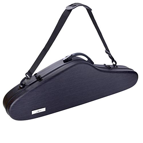 Aileen Violin Hard Case 4/4 Full Size Luxury with Hygrometer Suspension, Dark Black