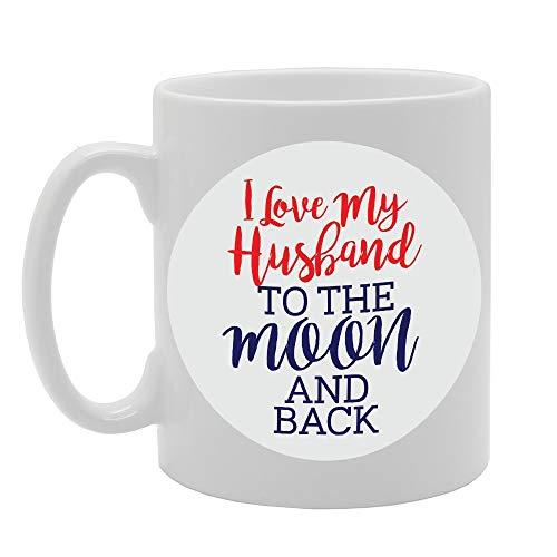 I Love My Husband to The Moon and Back Novelty Gift Printed Tea Coffee Ceramic Mug