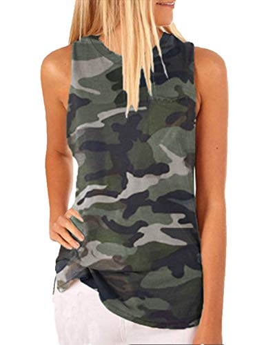 Hount Women's Tank Tops Loose Fit Sleeveless Tshirts for Women Loose Fitting Blouse Camouflage