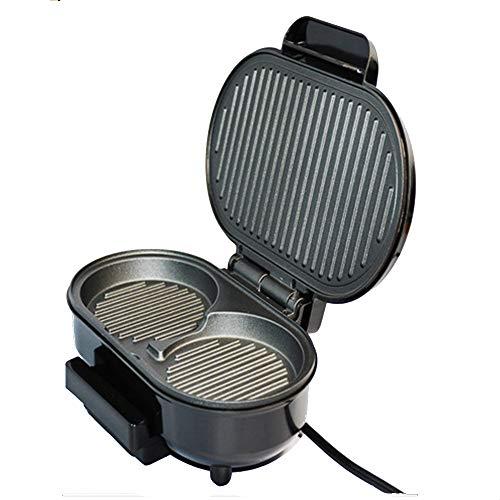 LTongx Mini 2 Tranche Double Rond Petit déjeuner Machine, Sandwich, Steak, Wafflie, Barbecue, Fabricant de PANINI, Pizza, plaques anti-adhésif/750W/acier Inoxydable et Noir