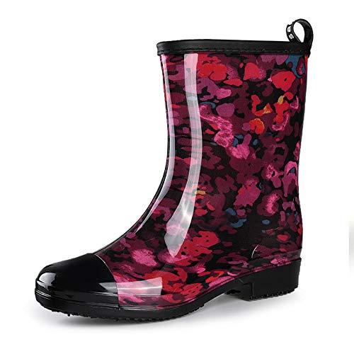 gracosy Bottines de Pluie Femme Fille, Bottes Caouthchouc Bottes de Pluie Imprimées Boots Mollets Larges Chaussure de Jardinage Imperméable Été Rouge 38