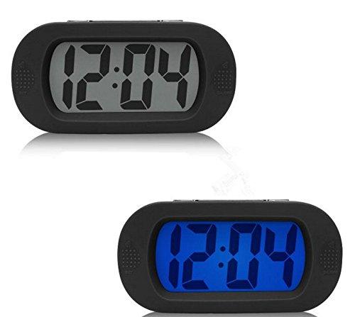 Moon mood Lampe de Reveil Mini, Reveil Matin Digitale, Simple LED Alarme Horloge Réveil Silencieux l'horloge Numérique LCD Grand écran Snooze / Manchon de Silicone Housse Small Alarm Clock (Noir)