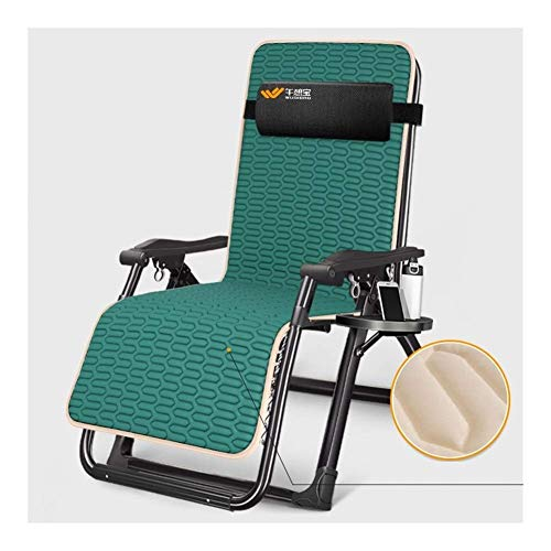YVX Folding Lounge Chair Lunch Break Sleeping Chair with Latex Pad Dark Green Beach Bed Lazy Cool Chairs Outdoor Portable Leisure Summer Leisure Chair Office Simple Beds c2017 (Color : with Cu