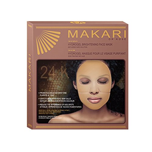 Makari 24K Gold Hydro Gel Mask – Powerful Anti-Aging Treatment w/Real Gold Particles, Collagen, Blueberry & Grapefruit Extracts for Wrinkles, Dark Spots & Blemishes – Luxurious Reparative Formula