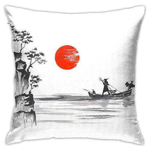Nicegift Arte Tradicional japonés Barco Gente montaña montaña Sol hogar sofá Funda de Almohada decoración es Suave y Lavable 18x18 pulgadas/45x45 cm