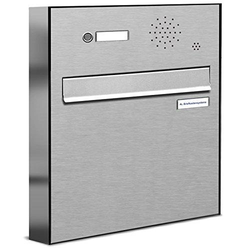 AL Briefkastensysteme 1 er Briefkasten für Tür/Zaundurchwurf mit Klingel, 1 Fach DIN A4, wetterfeste Premium Briefkastenanlage aus V2A Edelstahl