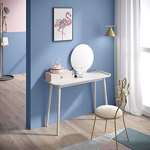 Tocador Dresser Simples Habitación Apartamento pequeño sólido de maquillaje de madera del pie Tabla cajón de almacenamiento, sólidas patas de la mesa de madera, asiento de piel del maquillaje de las h