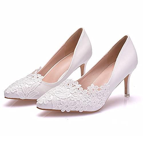 Zapatos Boda Mujeres,Decoración De Flor De Encaje Zapatos Tacón Novia Talla Grande,Zapatos...