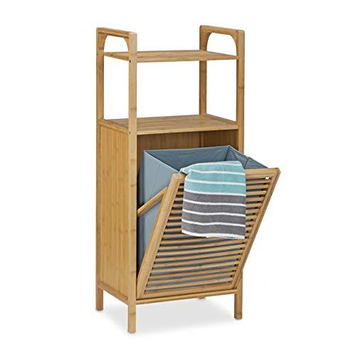 Relaxdays badkamerrek met wasmand van bamboe, 95 x 40 x 30 cm, badkamerkast met 2 planken voor badaccessoires, als wasmand met uitklapbare waszak, wasmand ca. 25 l wasbox, naturel