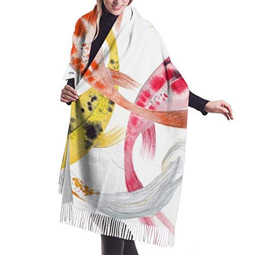 Acuarela Japonesa Pez Carpa Koi Natación Imitar Cachemira Sensación Bufanda Pashmina Mantón Envolturas Suave Cálida Manta Bufandas Elegante Abrigo Para Mujeres