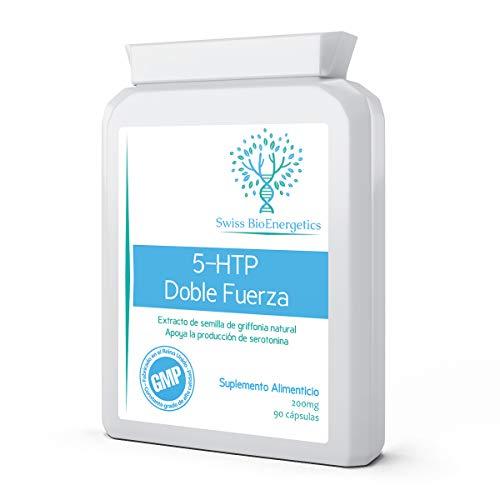 5-HTP 200mg 90 Cápsulas - Doble Fuerza Extracto de semilla de Griffonia base de plantas naturales que apoyan la producción de serotonina, estado de ánimo saludable y dormir
