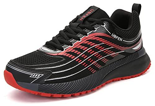 UBFEN Laufschuhe Herren Damen Turnschuhe Fitness Schuhe A Schwarz Rot Groesse 45