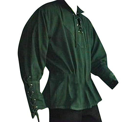 YU'TING ‿ Camicia Medievale da Uomo Pirata - Collo Alto, Cosplay t-Shirt Medievale da Cavaliere Costume Vichingo Guerriero (Nessuna Cintura) S-XXXL