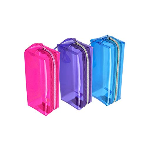 Estuche transparente para lápices de gran capacidad, artículos de tocador, cremallera de PVC, 3 unidades