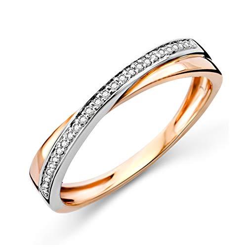 Miore Ring Damen Diamantring gekreuzt Ewigkeitsring Bicolor Weißgold und Rosegold 9 Karat / 375 Gold Diamanten Brillanten 0.08 Ct, Schmuck