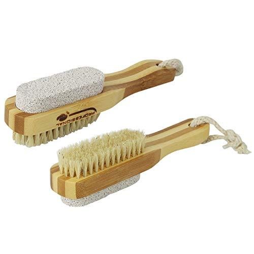 Vivezen ® Brosse à ongles et pierre ponce 17,5 cm double face en bambou et poils de sanglier - Norme CE