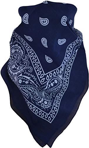 normani 3, 5 oder 10 x Bandana Biker Kopftuch Baumwoll Halstuch 55x55 wählbar Farbe Navy/Weiß Größe 3 Stück