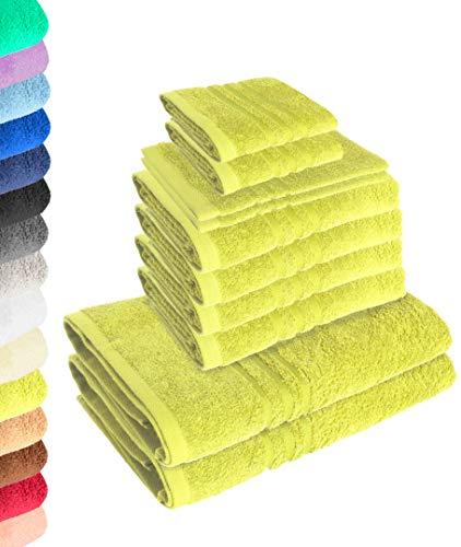 Lavea Juego de 10 toallas Elena verde lima, 4 toallas de mano, 2 toallas de ducha, 2 toallas de invitados, 2 manoplas de baño, 100% algodón