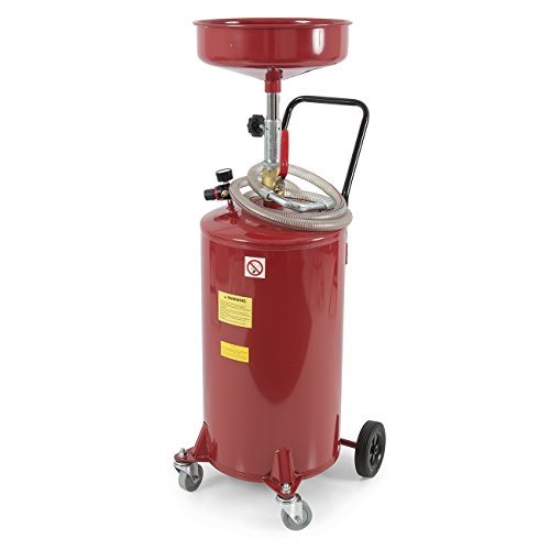 ARKSEN 20 Gallon Portable Waste Oil Drain Tank Air Operated Drainage Adjustable Funnel Height w/Wheel, Red